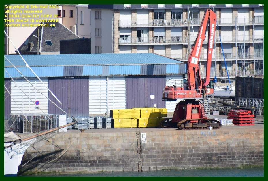 material on quayside port de granville harbour Granville Manche Normandy France Eric Hall