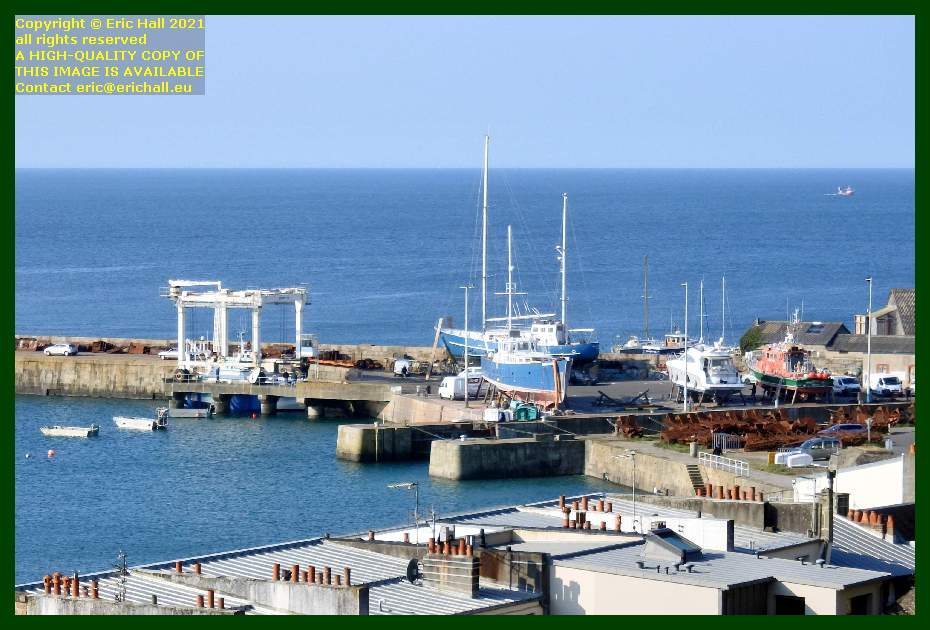 hermes 1 going back into the water with the portable boat lift aztec lady nyx 3 anakena notre dame de cap lihou chantier navale port de Granville harbour Manche Normandy France Eric Hall