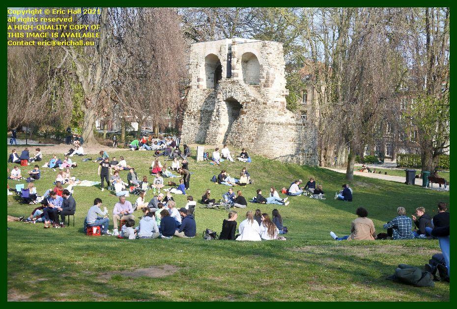 medieval city walls crowds st donatuspark leuven belgium Eric Hall
