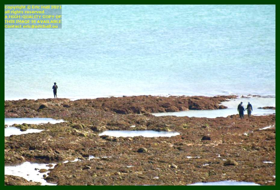 people fishing on the rocks pointe du roc Granville Manche Normandy France Eric Hall