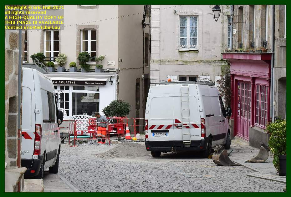 road works rue cambernon Granville Manche Normandy France Eric Hall