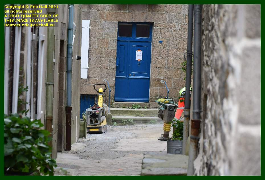 road works rue st michel Granville Manche Normandy France Eric Hall