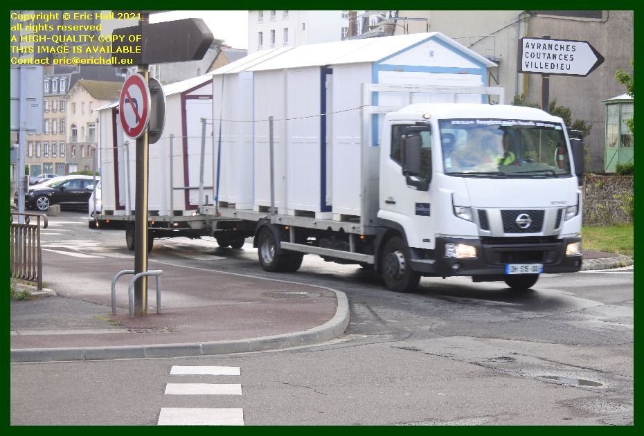 beach cabins on lorry cours jonville Granville Manche Normandy France Eric Hall