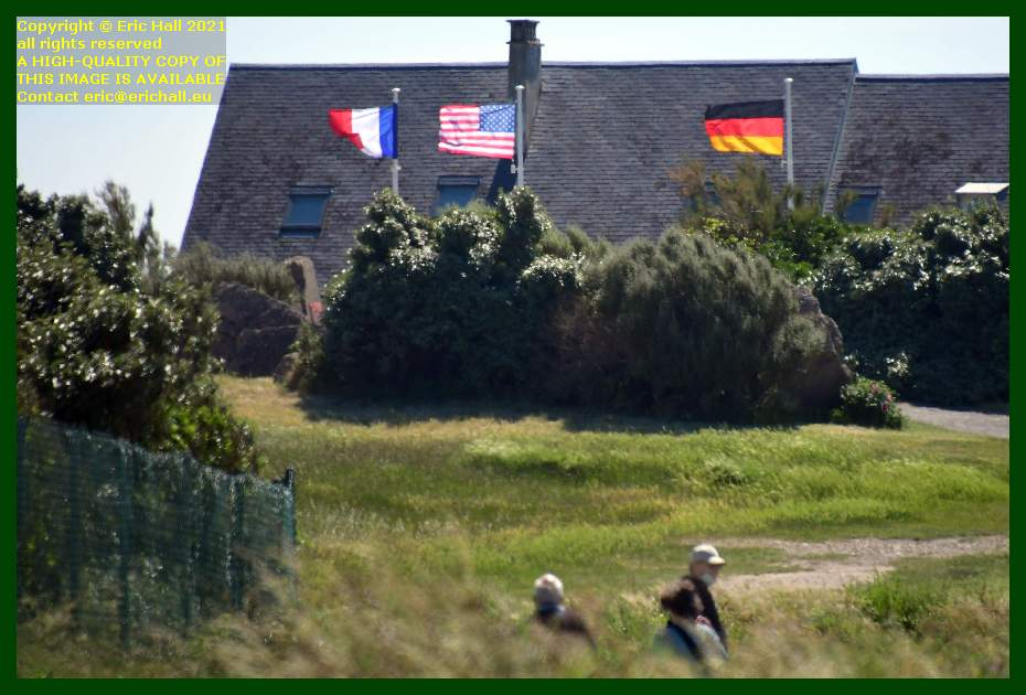 french flag, usa flag, german flag pointe du roc Granville Manche Normandy France Eric Hall