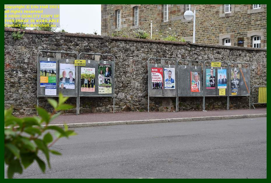 political posters rue st jean Granville Manche Normandy France Eric Hall