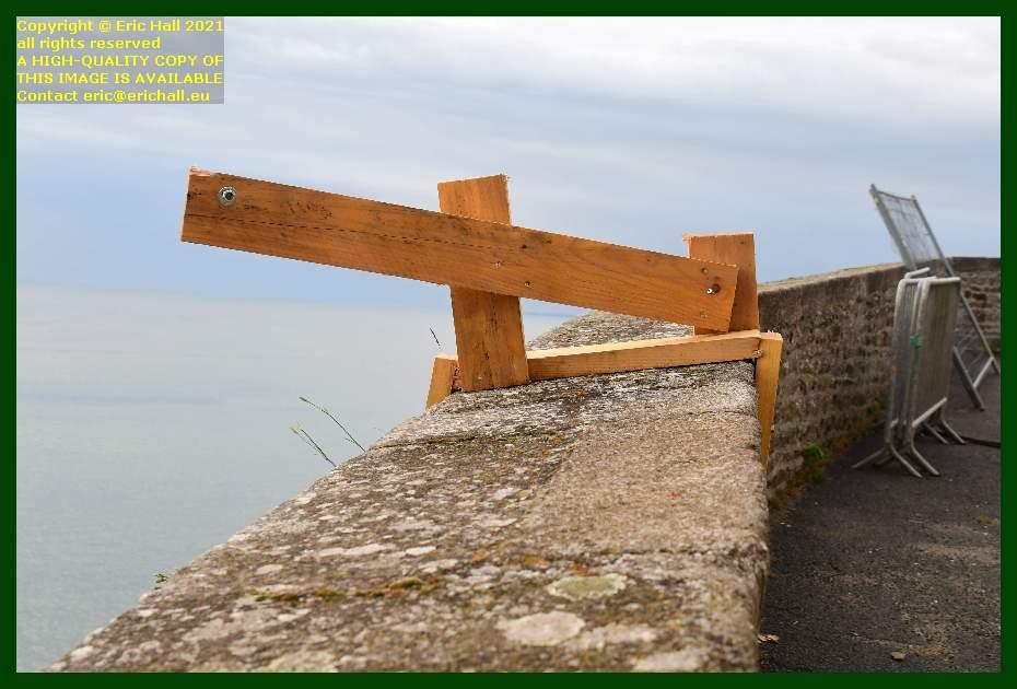 wooden structure medieval city walls place du marche aux chevaux Granville Manche Normandy France Eric Hall