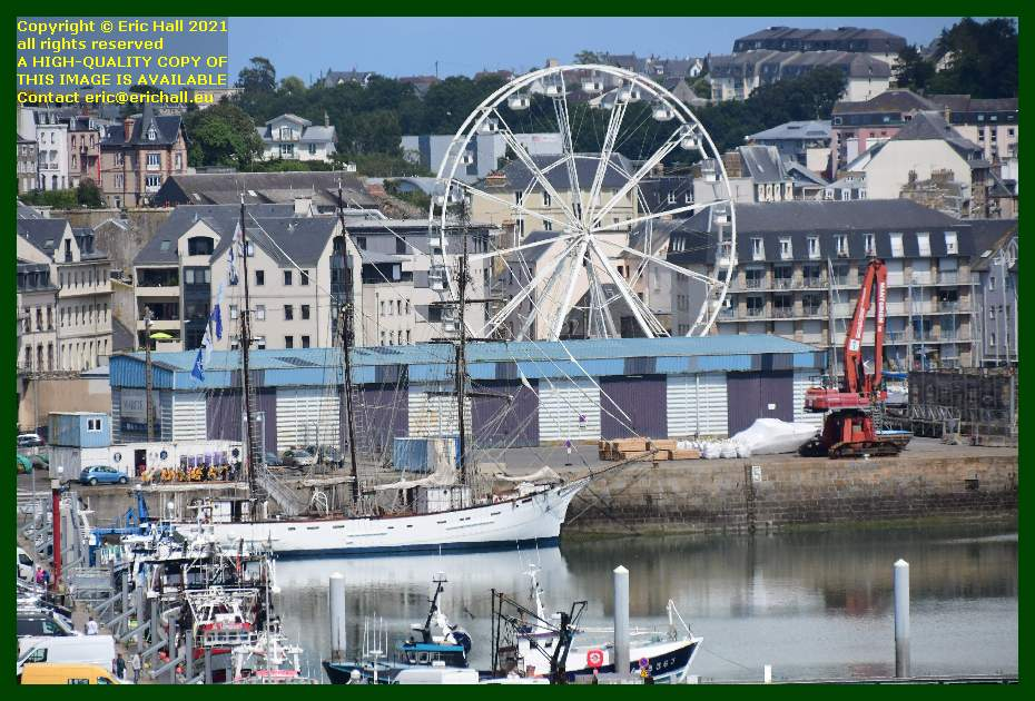marite big wheel products on quayside port de Granville harbour Manche Normandy France Eric Hall
