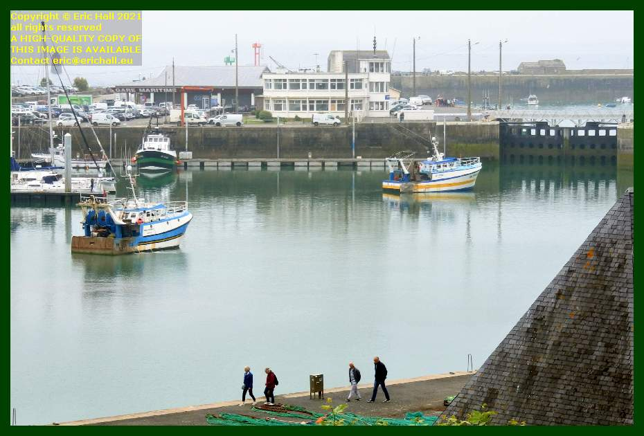 trawlers waiting to leave port de Granville harbour Manche Normandy France Eric Hall