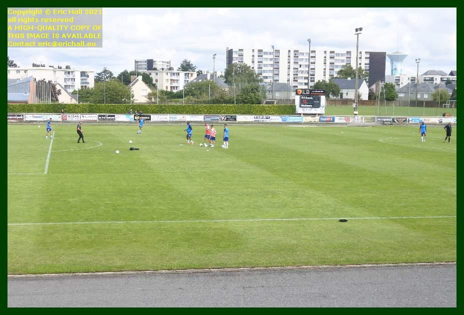 players warming up us Granville en avant guingamp stade louis dior granville Manche Normandy France Eric Hall