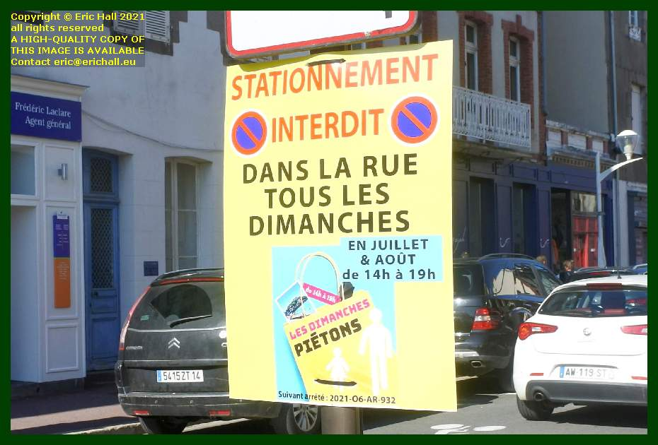 no parking in town on Sundays Granville Manche Normandy France Eric Hall