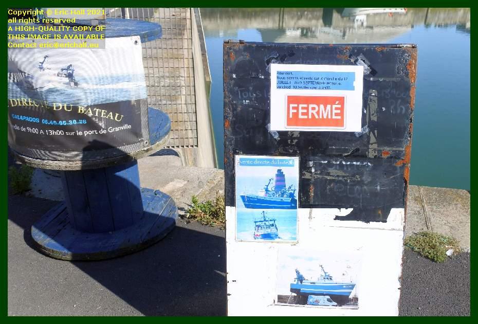 sale of fresh seafood closed port de Granville harbour Manche Normandy France Eric Hall