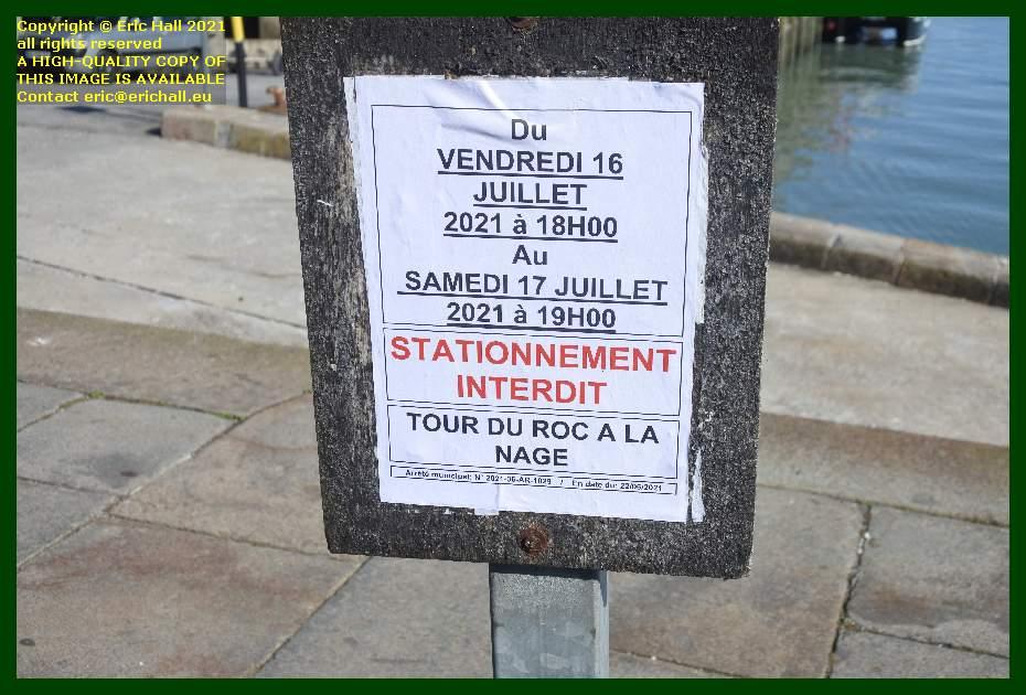 tour du roc à la nage no parking at port de Granville harbour Manche Normandy France Eric Hall