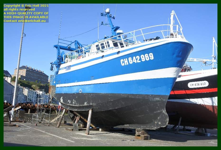 trawler galapagos chantier naval port de Granville harbour Manche Normandy France Eric Hall
