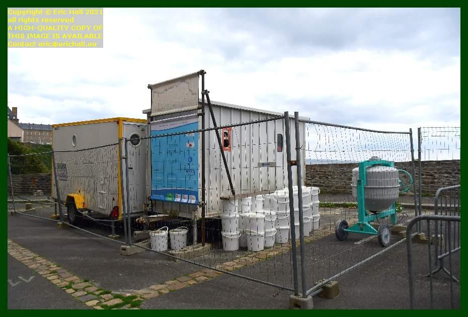 cement mixer workmen's cabin place du marché au chevaux Granville Manche Normandy France Eric Hall