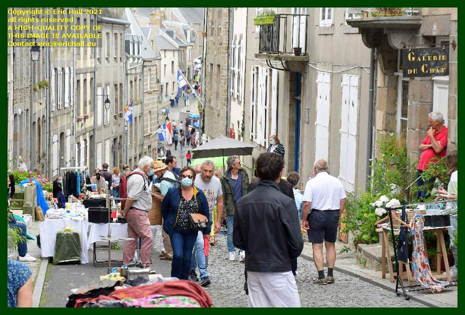 people in brocante rue notre dame Granville Manche Normandy France Eric Hall