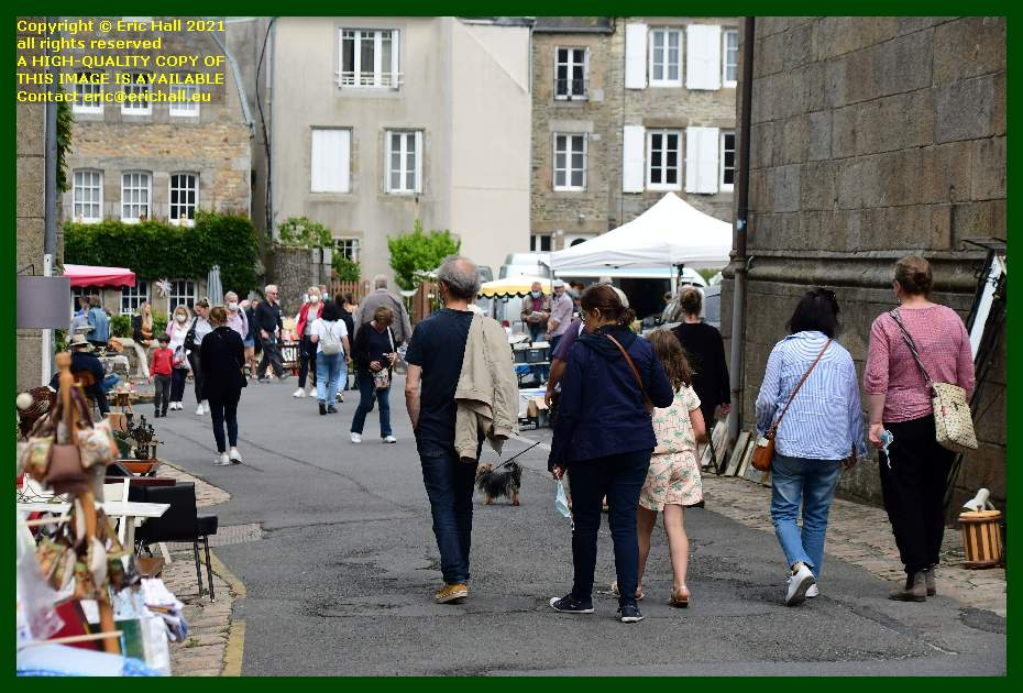 people at brocants rue notre dame Granville Manche Normandy France Eric Hall