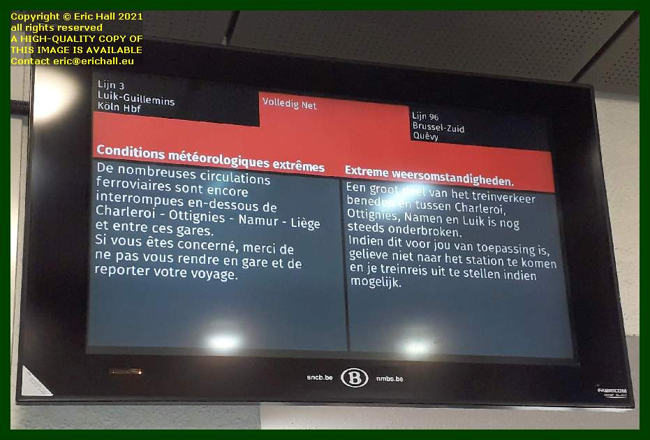 sign about train cancellations gare du midi brussels Belgium Eric Hall