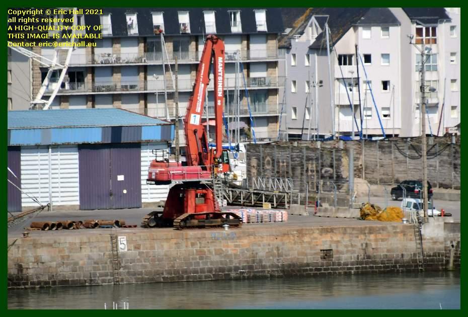 goods on quayside port de Granville harbour Manche Normandy France Eric Hall