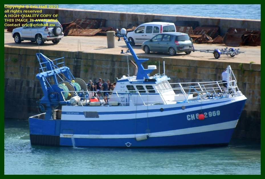 trawler galapagos leaving chantier naval port de Granville harbour Manche Normandy France Eric Hall