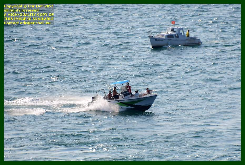 speedboat people fishing baie de Granville Manche Normandy France Eric Hall