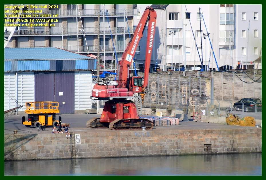 freight on quayside port de Granville harbour Manche Normandy France Eric Hall