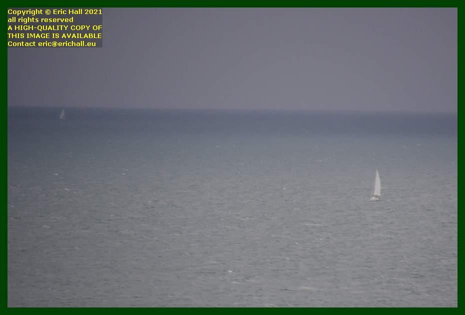 yachts in rainstorm baie de Granville Manche Normandy France Eric Hall