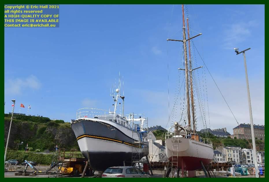 trawler yacht rebelle chantier naval port de Granville harbour Manche Normandy France Eric Hall