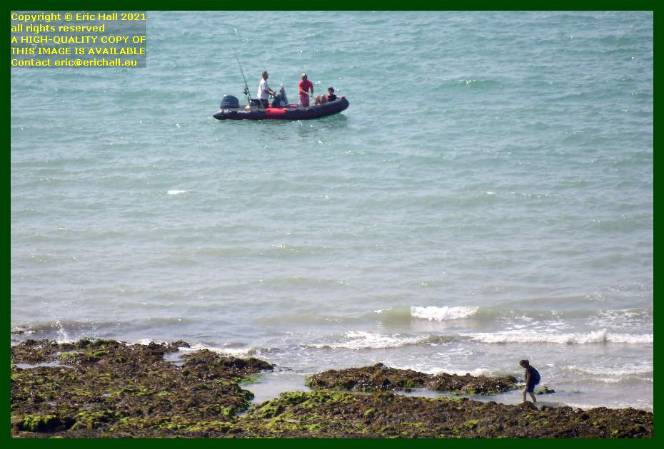 men fishing from zodiac peche a pied pointe du roc Granville Manche Normandy France Eric Hall
