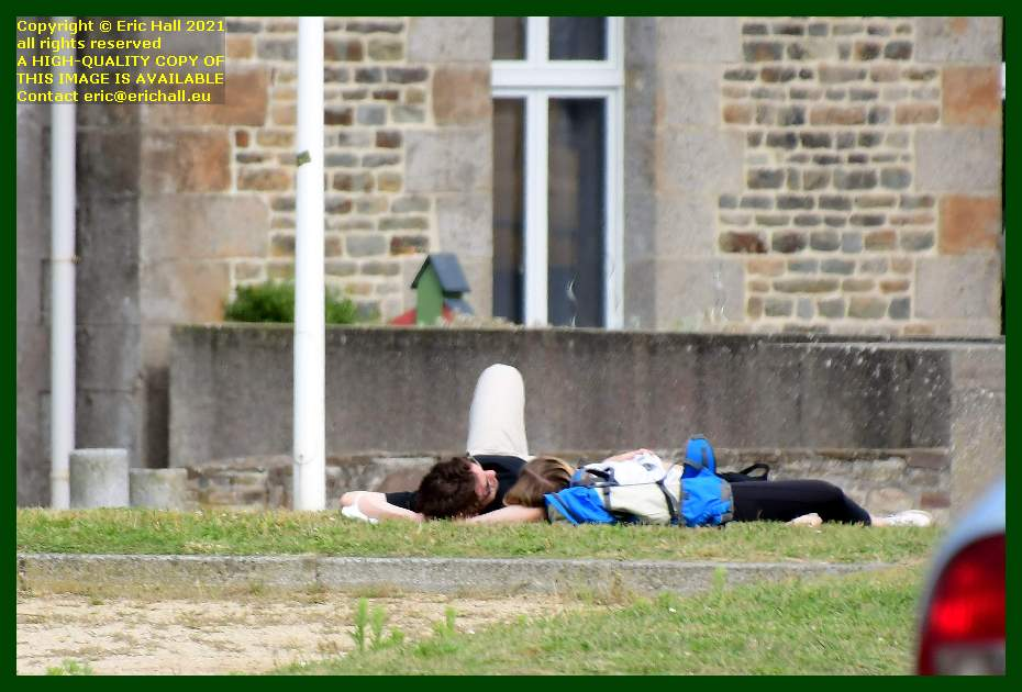 people sleeping on verge place d'armes Granville Manche Normandy France Eric Hall