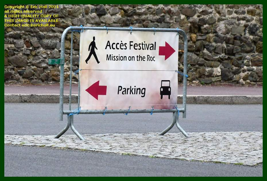 road sign mission on the roc Granville Manche Normandy France Eric Hall