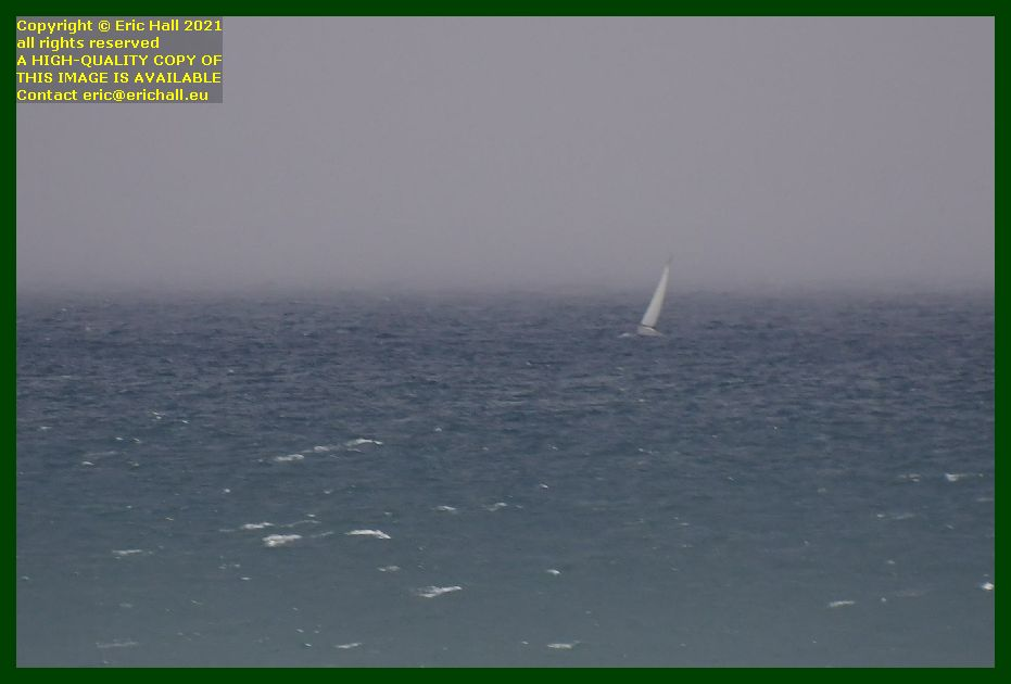 yacht in storm at sea baie de Granville Manche Normandy France Eric Hall