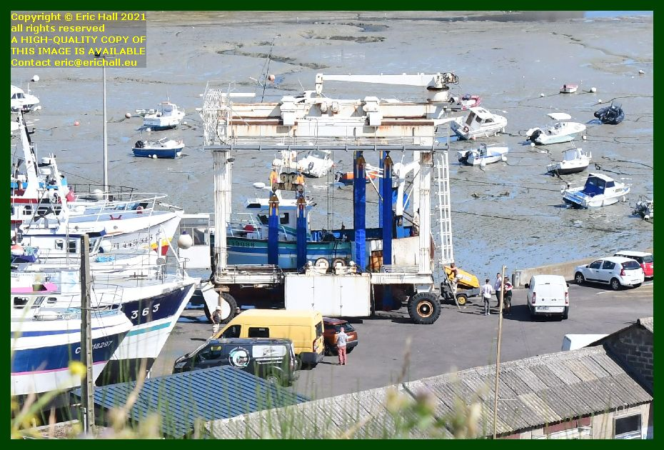 trawler in portable boat lift chantier naval port de Granville harbour Manche Normandy France Eric Hall