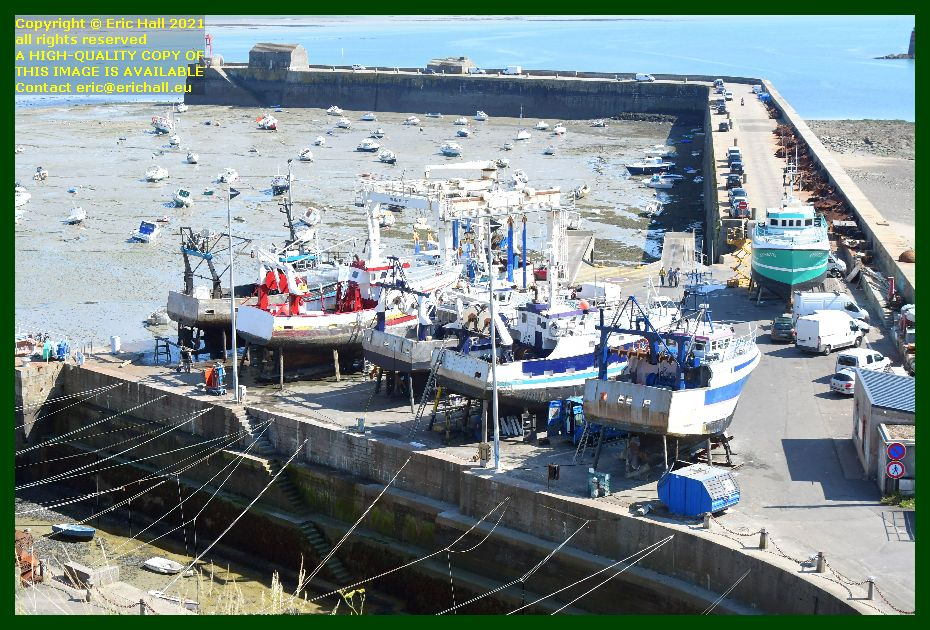 7 trawlers in chantier naval port de Granville harbour Manche Normandy France Eric Hall