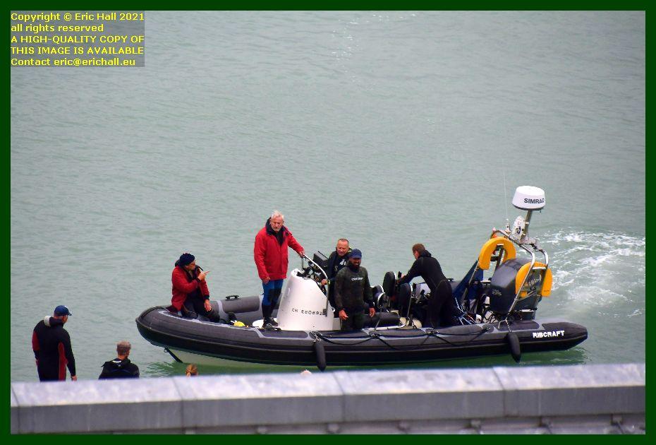 passengers boarding zodiac port de Granville harbour Manche Normandy France Eric Hall