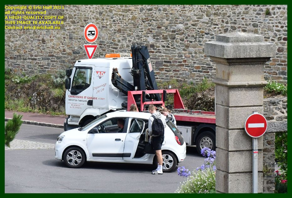 dropping off passengers blocking rue st jean Granville Manche Normandy France Eric Hall