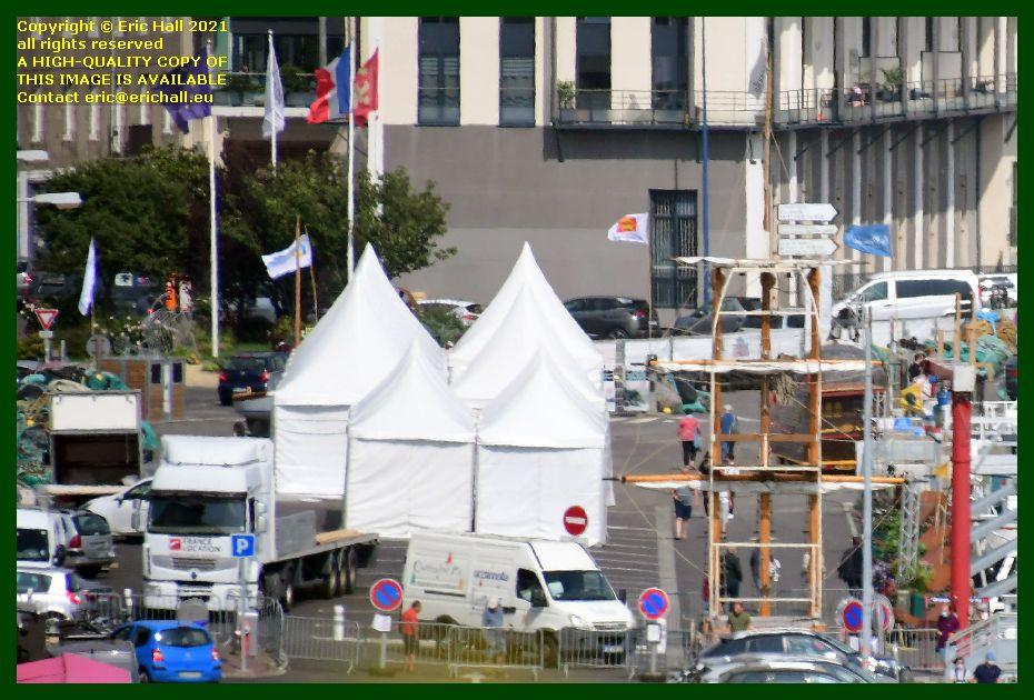 tents car park port de Granville harbour Manche Normandy France Eric Hall