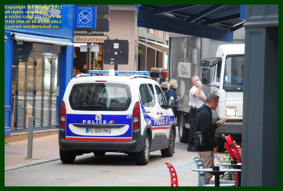 police blocking road rue couraye Granville Manche Normandy France Eric Hall