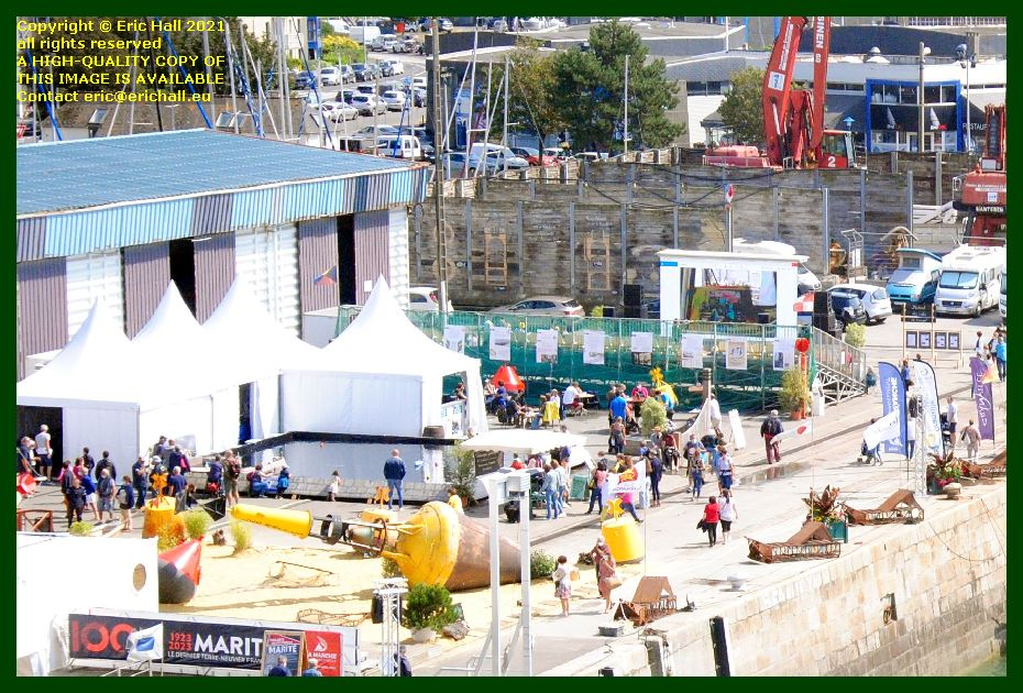 crowds at exhibition working sailboats port de Granville harbour Manche Normandy France Eric Hall