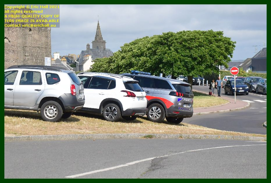 police car parked on grass pointe du roc Granville Manche Normandy France Eric Hall