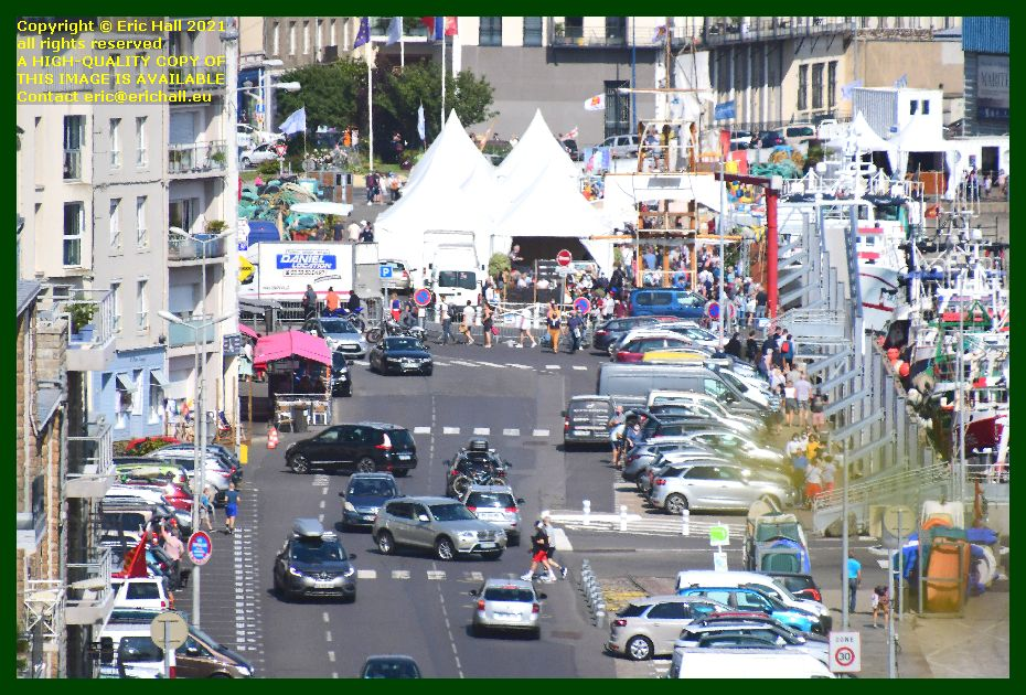 crowds festival of working sailboats rue du port Granville Manche Normandy France Eric Hall