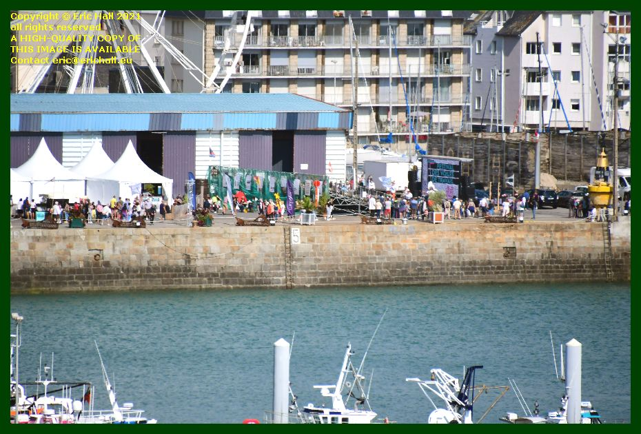 jazz band crowds festival of working sailboats port de Granville harbour Manche Normandy France Eric Hall