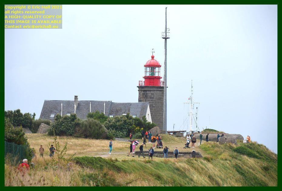 crowds footpath pointe du roc lighthouse semaphore Granville Manche Normandy France Eric Hall