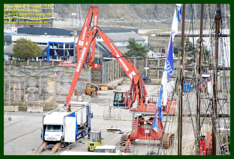 unloading vehicles from thora port de Granville harbour Manche Normandy France Eric Hall photo September 2021