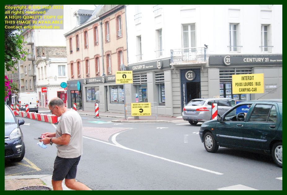 roadworks diversion rue couraye Granville Manche Normandy France Eric Hall photo September 2021