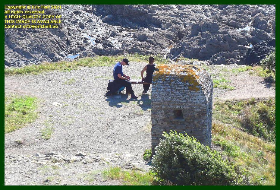 cabanon vauban people on bench pointe du roc Granville Manche Normandy France Eric Hall photo September 2021