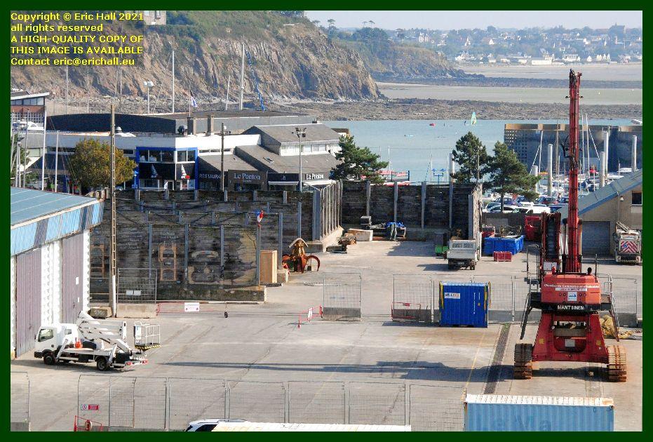 cherry picker crane port de Granville harbour Manche Normandy France Eric Hall photo September 2021