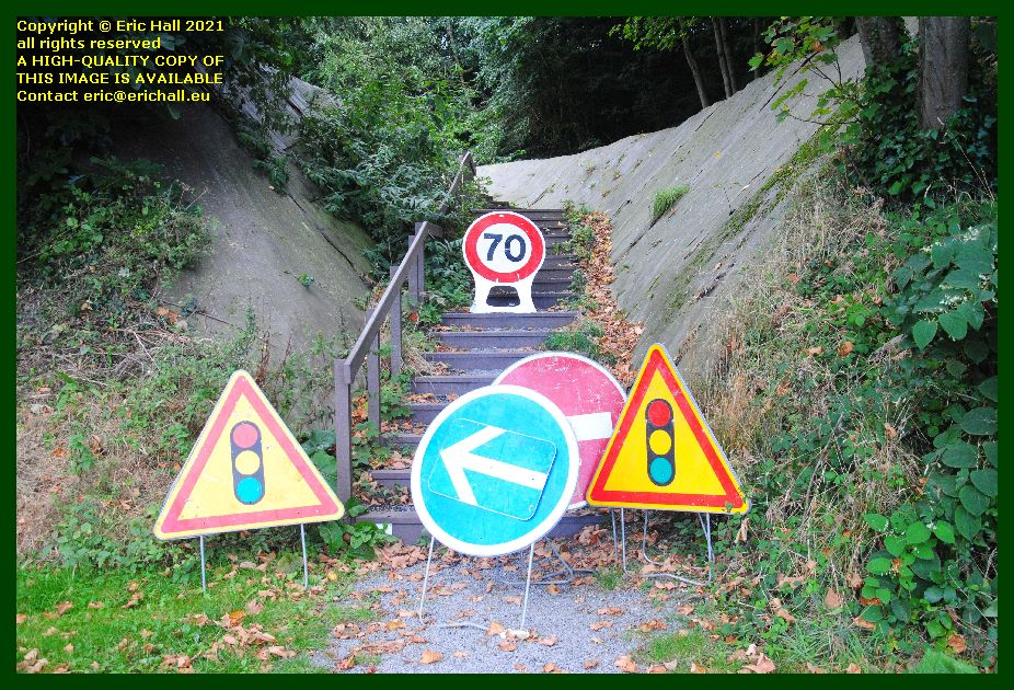 random road signs parc du val es fleurs Granville Manche Normandy France Eric Hall photo September 2021