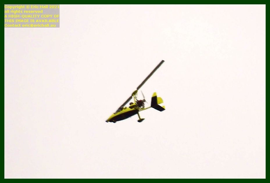 yellow autogyro place d'armes Granville Manche Normandy France Eric Hall photo September 2021