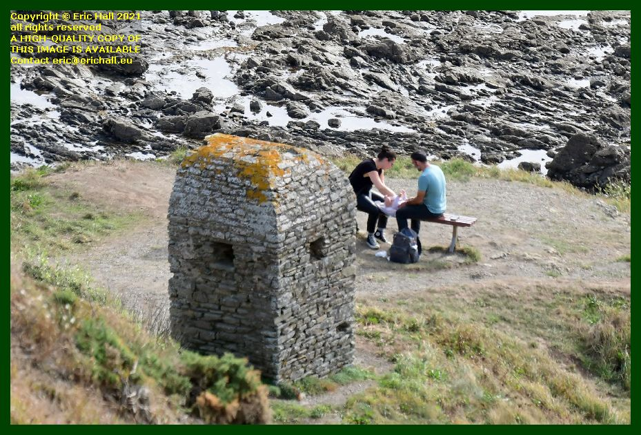 cabanon vauban couple changing a baby pointe du roc Granville Manche Normandy France Eric Hall photo September 2021