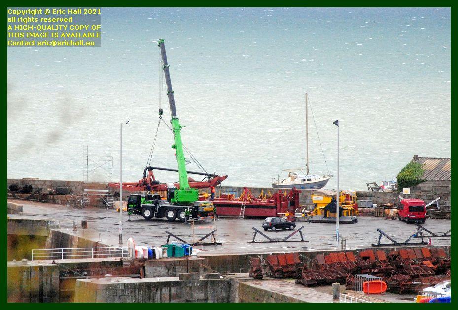 crane assembling structure chantier naval port de Granville harbour Manche Normandy France Eric Hall photo September 2021